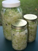 Freshly made German sauerkraut with caraway seed & juniper berries